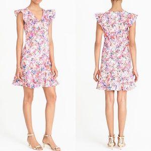 J. Crew Floral Print Ruffle Hem & Sleeves Dress